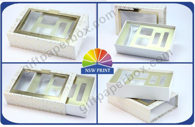 Drawer Window Paper Gift Box with Blister Tray , Cosmetic Packaging Boxes Environmentally Friendly