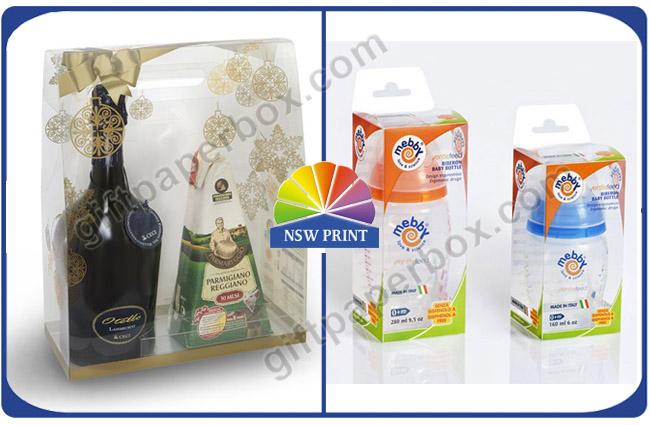 Nursing Bottle Packaging Transparent PVC Boxes / Clear Plastic Boxes for Wine or Milk Packing