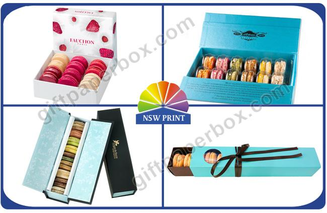 Eco-friendy Cardboard Gift Box for Macarons / Fancy Paper Dessert Gift Packaging Boxes