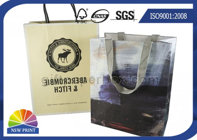 Personalized 190g White Kraft Paper Shopping Bags Full Color Printing SGS Approval