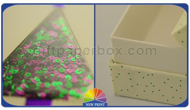 Glitter Powder Cardboard Rigid Gift Box Three Pieces With Window OEM / ODM