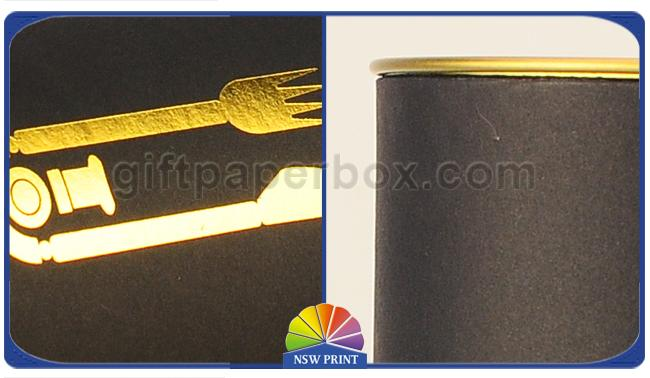 Gold Stamping Logo Black Paper Packaging Tube With Metal Plug Personalised