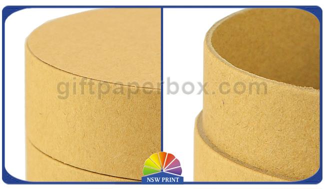 Flat Cap Brown Kraft Paper Packaging Tube Customized Size with Die Cut Window