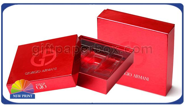 Fancy Red Square Cosmetic Rigid Paper Cardboard Gift Box With Plastic Inner Tray