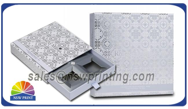 Handmade Delicate Rigid Slide Box Silver Cardboard Liners Paper Drawer Box