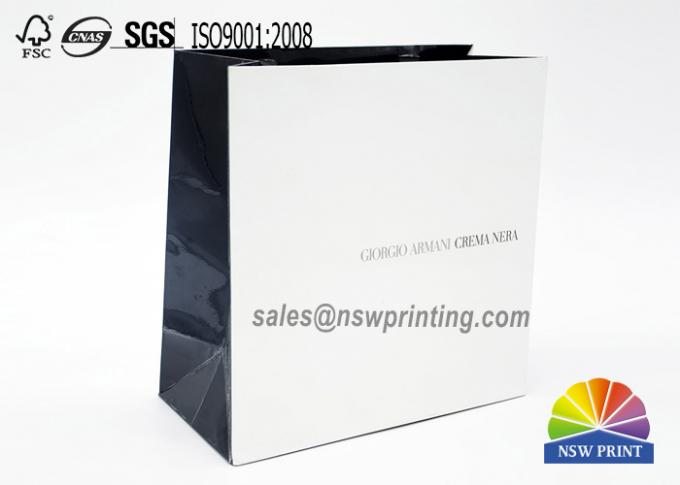 Fashion Custom Paper Shopping Bags / Paper Carry Bag With Ribbon Handle